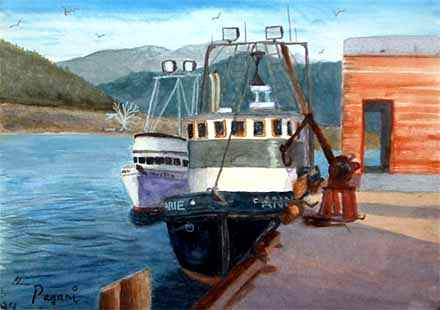 Oregon art gallery - Commercial Fishing Boats painting, Garibaldi Oregon. Click for a gallery walk-through
