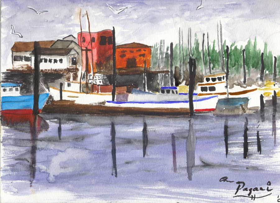 Garibaldi Harbor, simplified in an abstract Impressionist sketch, Oregon native watercolor sketch