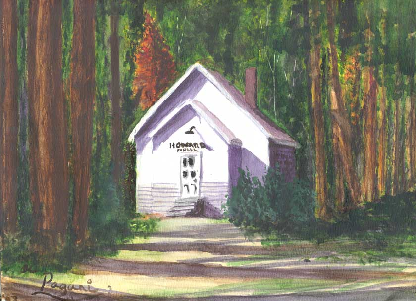 Old School House, Oregon native watercolor sketch